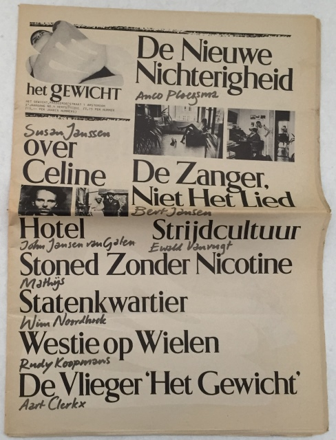 DUYNHOVEN, MARTIN VAN, WILLEM ELLENBROEK, CHARLOTTE FISCHER, E.A., RED., - Het Gewicht. 2e jaargang No. 4, herfst 1977. [los nummer]